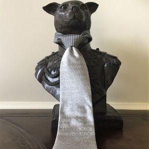 NWOT Dolce&Gabbana Silk Tie in Gunmetal/Silver